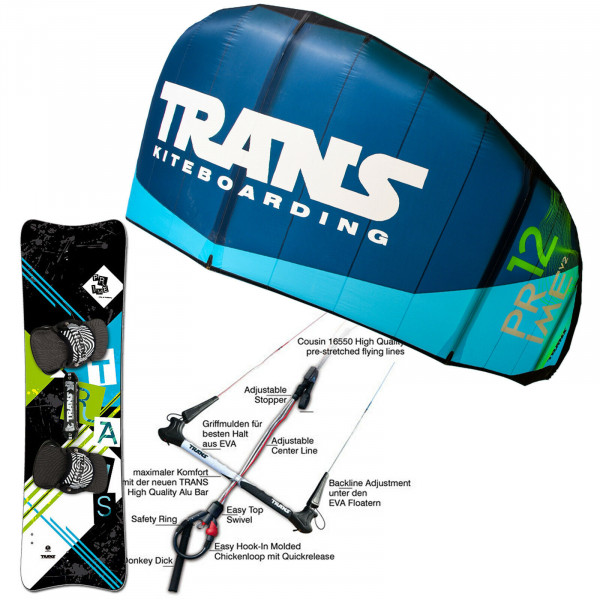 KITE SET TRANS PRIME V2 ~ 9 QM + BAR + BAG + LEICHTWIND PRIME KITEBOARD 161 CM