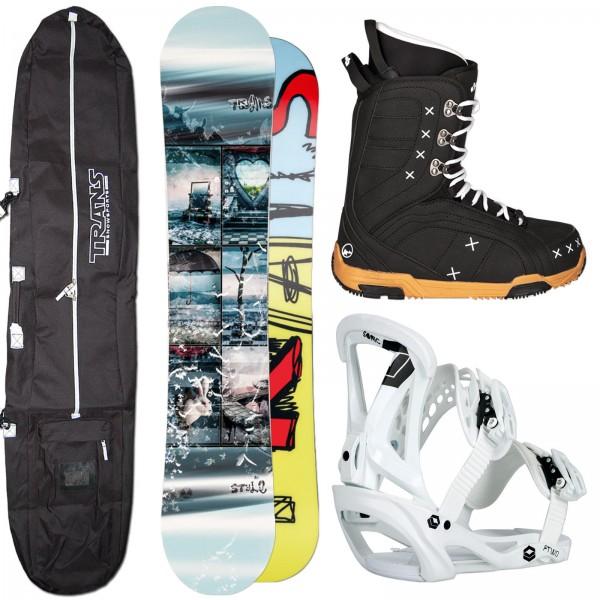 DAMEN SNOWBOARD TRANS STYLE GIRL + SONIC BINDUNG GR. M + BOOTS + BAG