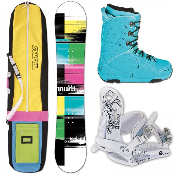 ICELAND SNOWBOARD MULTI + FTWO PIPE BINDUNG + BAG + BOOTS
