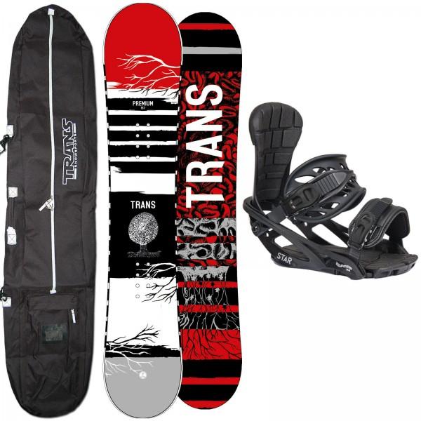 HERREN SNOWBOARD SET TRANS PREMIUM RED 2020 + STAR BINDUNG GR. L + BAG