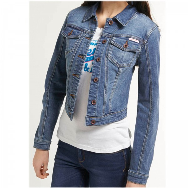 SUPERDRY PREMIUM DENIM JACKET ~ DAMEN JEANS JACKE VINTAGE SURF BLUE
