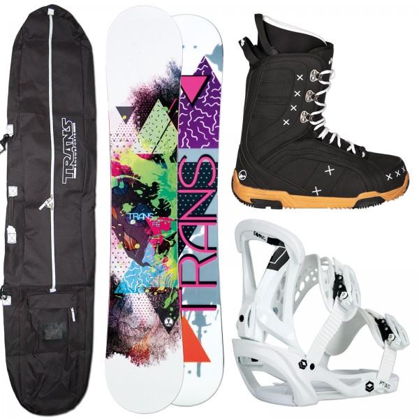 DAMEN SNOWBOARD SET TRANS FE + FTWO SONIC BINDUNG + BOOTS + BAG