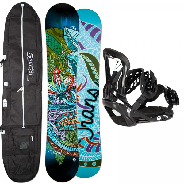 DAMEN SNOWBOARD SET TRANS FE BLACK 2019 + FTWO SONIC BINDUNG + BAG