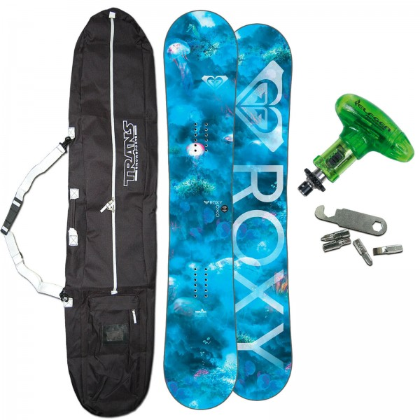 ROXY FREESTYLE DAMEN SNOWBOARD XOXO C2E AQUA 2019 + BAG + TOOL