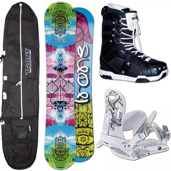 DAMEN SNOWBOARD TRANS FE CAMBER + FTWO PIPE BINDUNG M + BAG + BOOTS