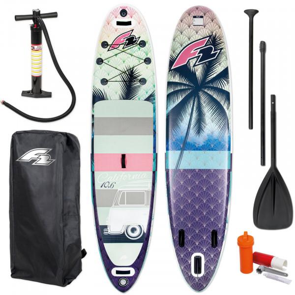 F2 SUP CALIFORNIA WOMAN -> STAND UP PADDLE BOARD + PADDEL + BAG + PUMPE