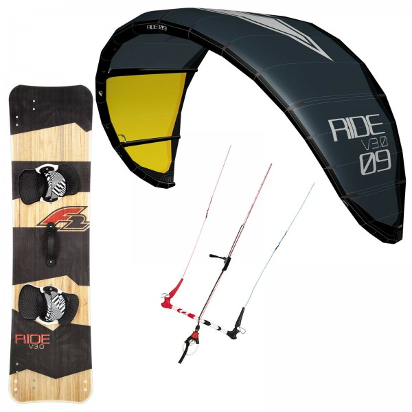 KITE F2 RIDE V3.0 YELLOW 2020 + BAR + F2 RIDE LEICHTWIND KITEBOARD 161 CM
