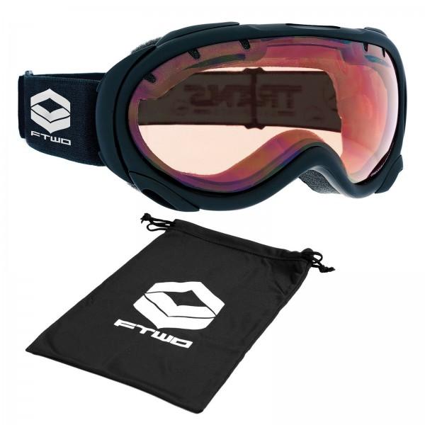 FTWO GOGGLE POWDER UNISEX SKI & SNOWBOARDBRILLE BLACK RAW + BAG