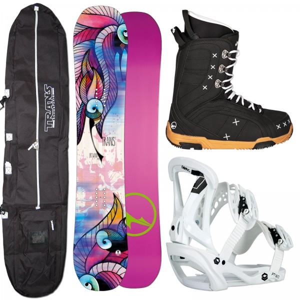 DAMEN SNOWBOARD TRANS FR WOOD + SONIC BINDUNG + BOOTS + BAG