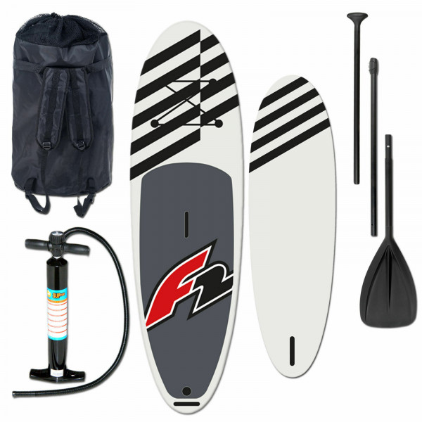 F2 ALLROUND INFLATABLE SUP SET BLACK & PUMPE & RUCKSACK & PADDEL