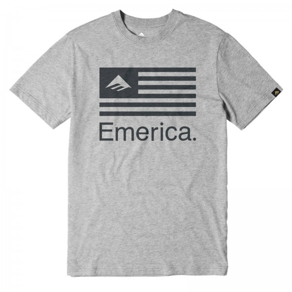 EMERICA PURE FLAG GREY HEATHER 2018 - HERREN T-SHIRT SHIRT COTTON
