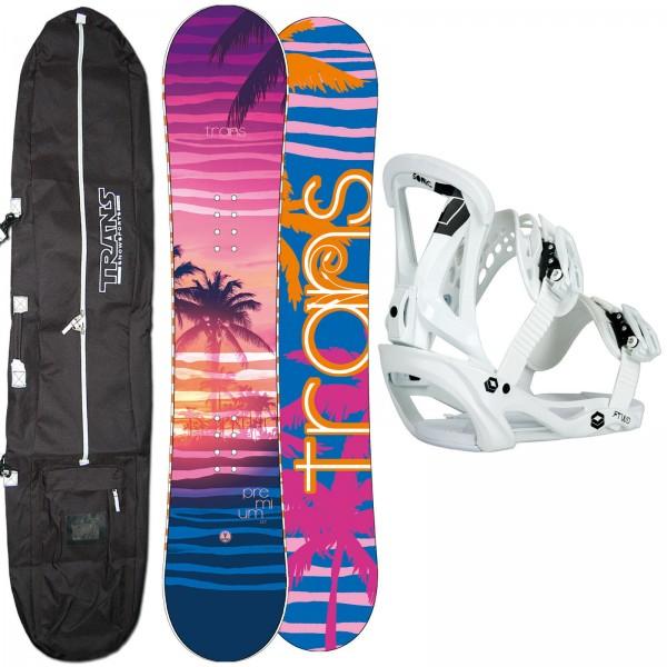 DAMEN SNOWBOARD SET TRANS PREMIUM 2020 + FTWO SONIC BINDUNG M + BAG