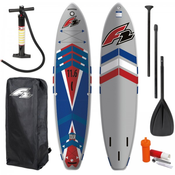 "F2 SUP TOUR DEEP V 11,6"" TOURING SUP ~ STAND UP PADDLE BOARD + PADDEL + PUMPE"