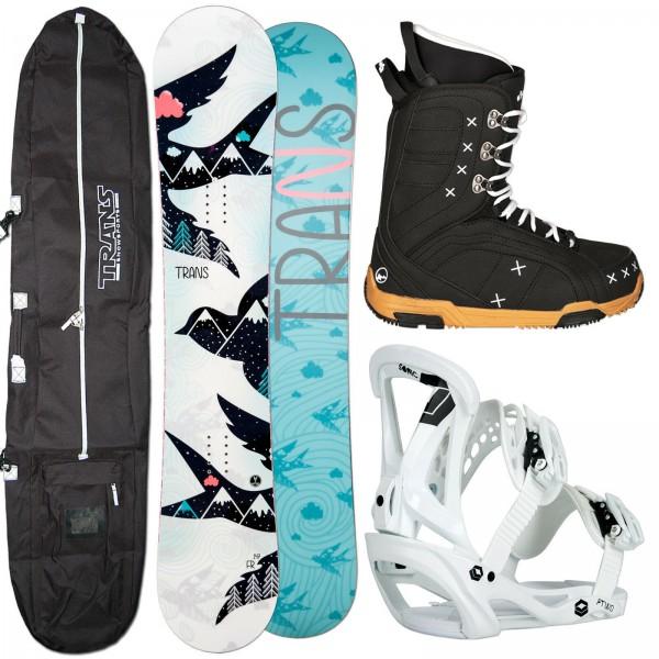 DAMEN SNOWBOARD TRANS FR + SONIC BINDUNG GR. M + BOOTS + BAG