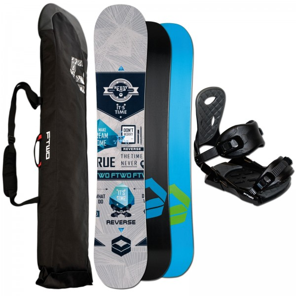 FTWO HERREN SNOWBOARD REVERSE WHITE + FTWO TEAM BINDUNG + BAG