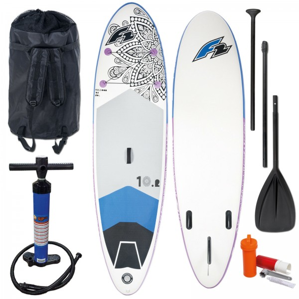 "F2 SUP FEELGOOD 10,2"" 2020 STAND UP PADDLE BOARD AUFBLASBAR + TESTBOARD"