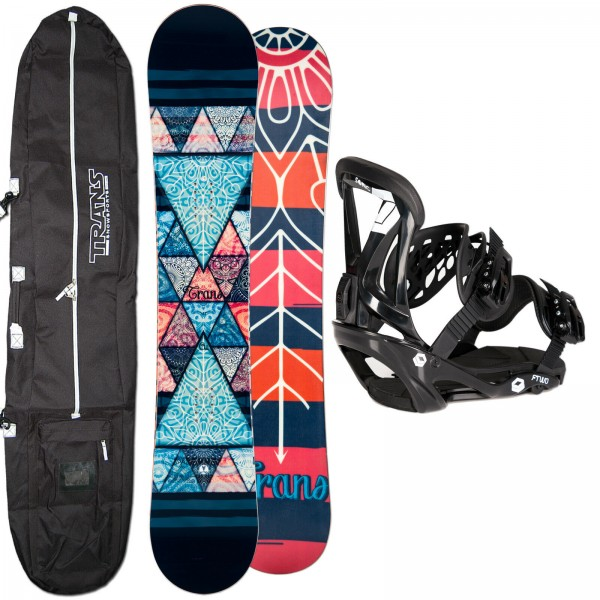 DAMEN SNOWBOARD SET TRANS CU BLACK 2019 + FTWO SONIC BINDUNG + BAG