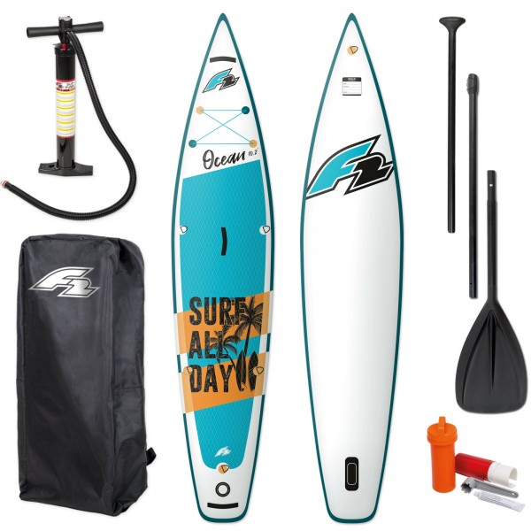 "F2 OCEAN KINDER SUP TOUR 10,2"" 2021 STAND UP PADDLE BOARD + PADDEL + BAG + PUMPE"