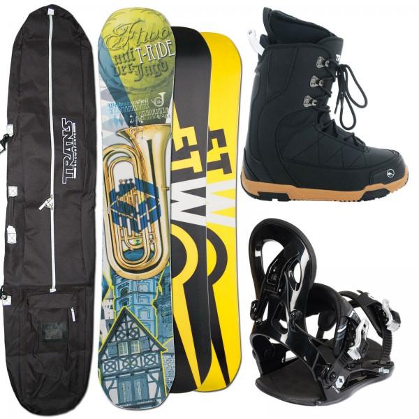HERREN SNOWBOARD FTWO T-RIDE 156 CM WIDE + FASTEC BINDUNG GR. XL + BOOTS + BAG