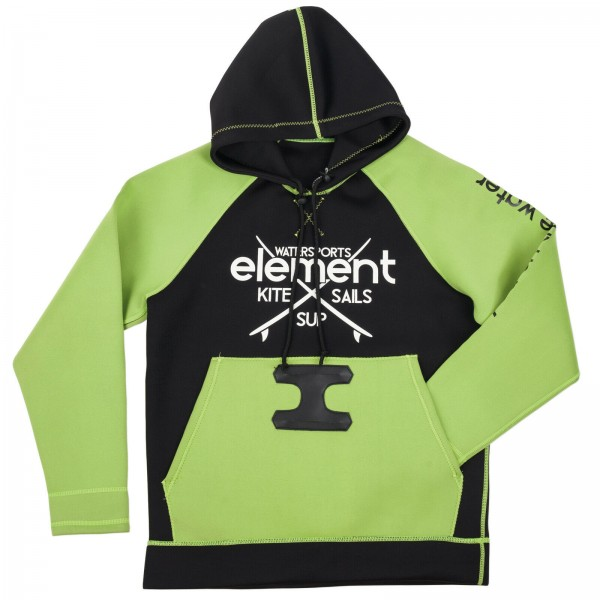 ELEMENT NEO HOODIE ~ NEOPREN HOODY BLACK GREEN FÜR KITE WAKE WINDSURF