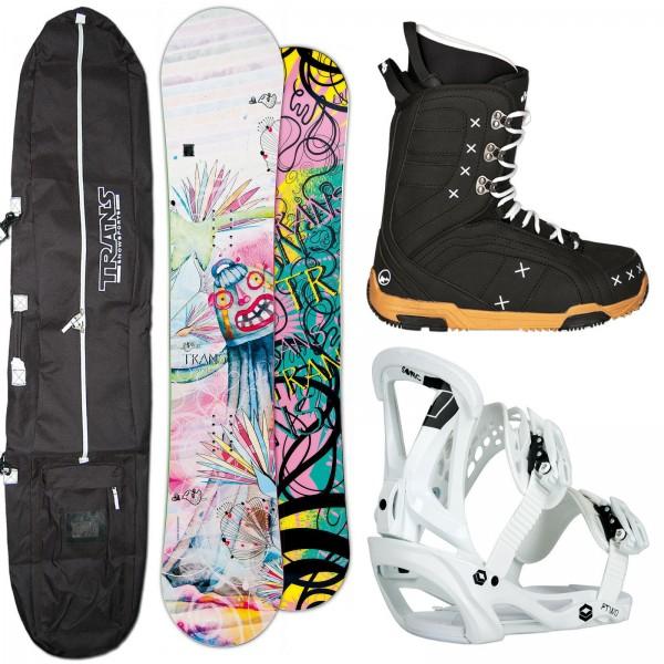 DAMEN SNOWBOARD SET TRANS STYLE + FTWO SONIC BINDUNG GR. M + BOOTS + BAG