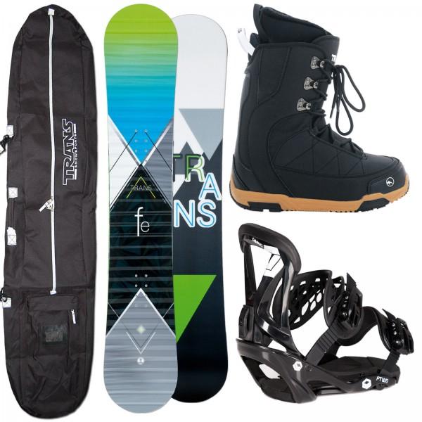 HERREN SNOWBOARD TRANS FE GREEN + FTWO SONIC BINDUNG + BOOTS + BAG
