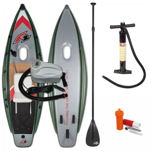 F2 FISHING BOAT STAND UP PADDLE BOARD AUFBLASBAR + ELEKTROPUMPE