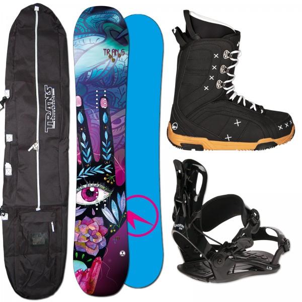 DAMEN ROCKER SNOWBOARD TRANS LTD + FASTEC BINDUNG + BOOTS + BAG