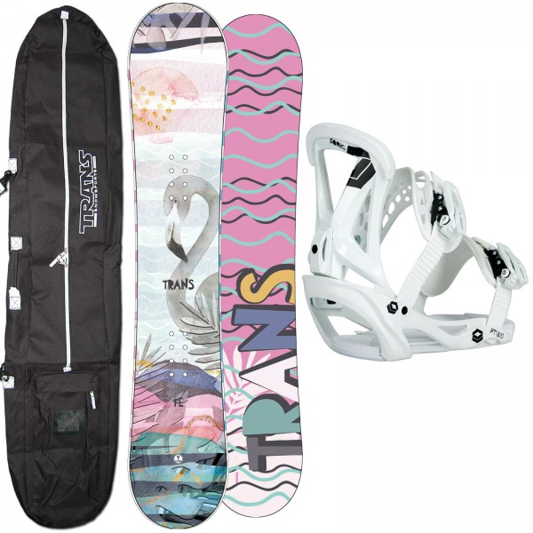 DAMEN SNOWBOARD SET TRANS FE GIRL 2020 + FTWO SONIC BINDUNG GR. M + BAG