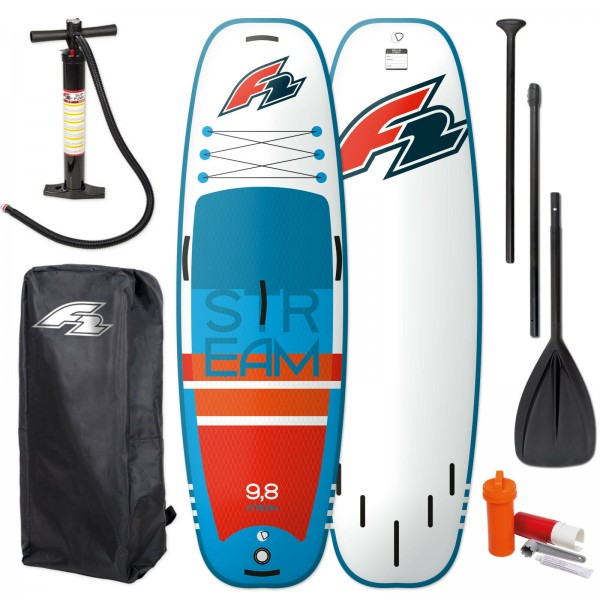 """F2 STREAM SUP 9,8"""" 2021 STAND UP PADDLE BOARD + PADDEL + BAG + PUMPE"""