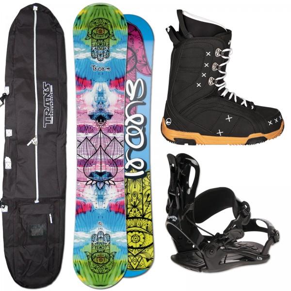 DAMEN SNOWBOARD SET TRANS FE + FASTEC BINDUNG GR. M + BOOTS + BAG
