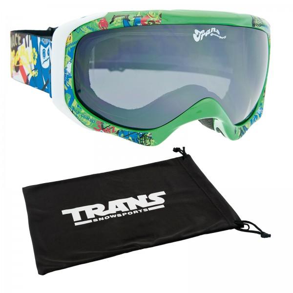 TRANS RIDER ROOKIE JUNIOR SKI & SNOWBOARDBRILLE GOGGLE GREEN + BLACK + BAG