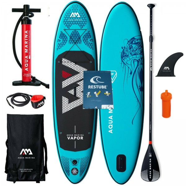 "AQUA MARINA SUP VAPOR 9,1"" 2019 STAND UP PADDLE BOARD + PADDEL BAG PUMPE LEASH"