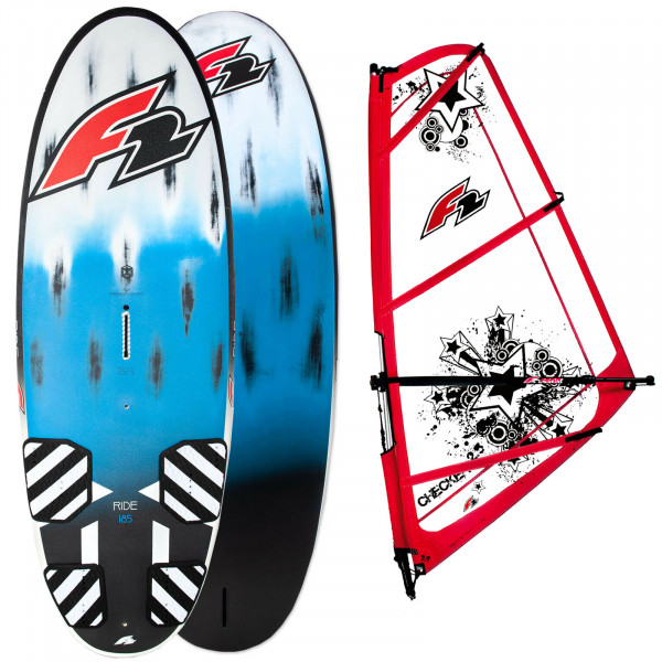 F2 RIDE 185 LITER FREERIDE FUN & FAMILY WINDSURF-BOARD & F2 CHECKER RIGG 3,5 QM