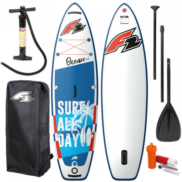 "F2 OCEAN KINDER SUP BOY 9,2"" 2021 ~ STAND UP PADDLE BOARD + PADDEL + BAG + PUMPE"