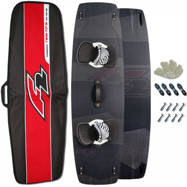 F2 CARBON KITEBOARD RIDE V3.0 + PADSET + FINNEN + HANDLE + BAG