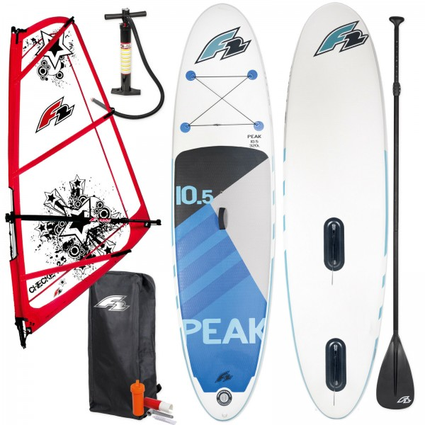 "F2 PEAK WINDSURF INFLATABLE SUP SET 11,5"" KOMPLETT + F2 CHECKER RIGG"