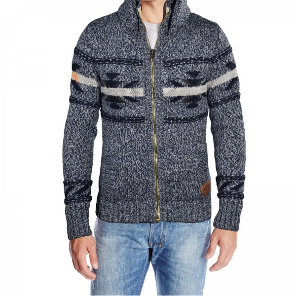 SUPERDRY BIG CHIEF ZIP KNIT INDIGO TWIST ~ HERREN JACKE
