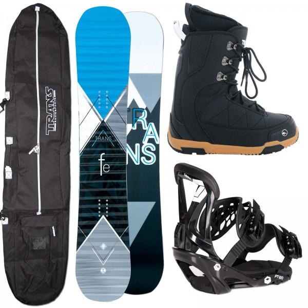 HERREN SNOWBOARD TRANS FE BLUE + FTWO SONIC BINDUNG + BOOTS + BAG