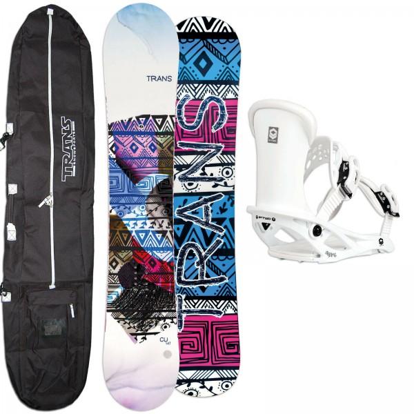 DAMEN SNOWBOARD SET TRANS CU WHITE 2021 + FTWO PIPE BINDUNG GR. M + BAG