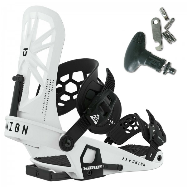 UNION HERREN SNOWBOARD BINDUNG EXPEDITION 2020 ~ WHITE GRÖßE M + SNOWTOOL