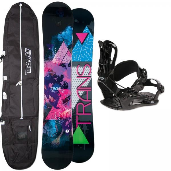 DAMEN SNOWBOARD TRANS FE ROCKER + FASTEC BINDUNG + BAG