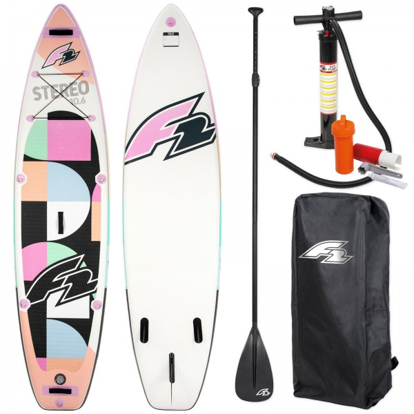 "F2 SUP STEREO WOMAN PINK 10,5"" 2020 STAND UP PADDLE BOARD + PADDEL + BAG + PUMPE"