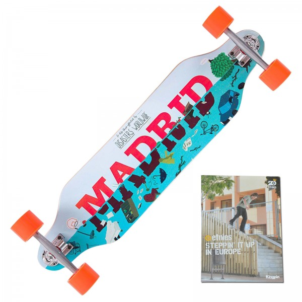 MADRID DISASTER RELIEF MAXED LONGBOARD SKATEBOARD + SKATE