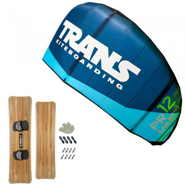 KITE SET TRANS PRIME 15m² + TRANS WOODY DOOR KITEBOARD 161 cm
