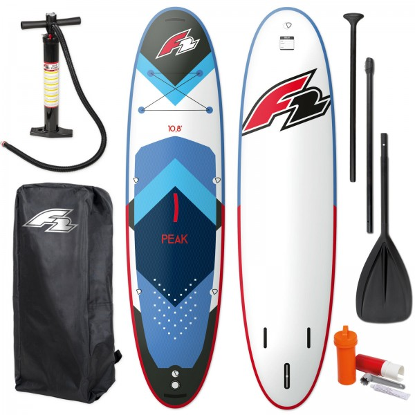 "F2 PEAK SUP 11,7"" 2021 STAND UP PADDLE BOARD AUFBLASBAR + PADDEL + BAG + PUMPE"