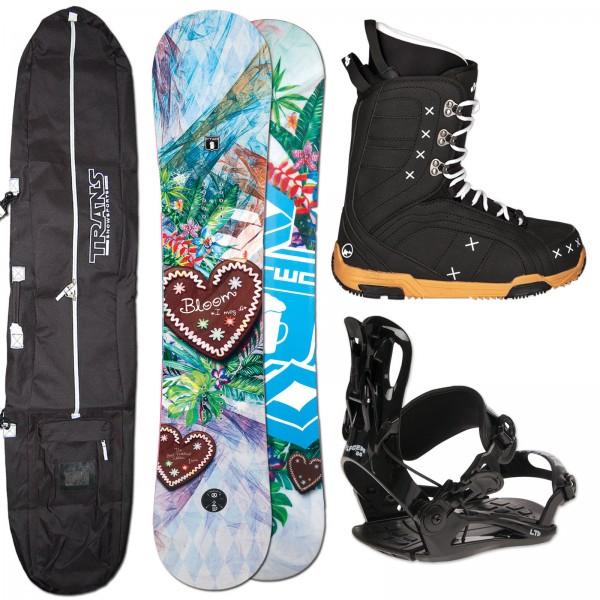 DAMEN SNOWBOARD FTWO BLOOM + FASTEC BINDUNG + BOOTS + BAG