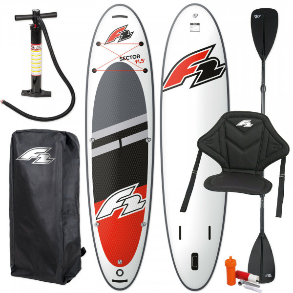 F2 SECTOR SUP RED 2021 STAND UP PADDLE BOARD + KAJAK PADDEL & SITZ
