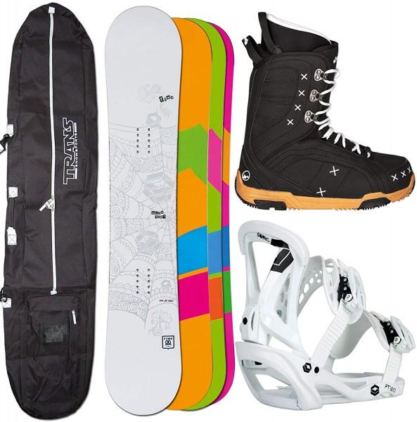 Ftwo Damen Snowboard WHITEDECK 145 cm Sonic BINDUNG M + Boots + Bag