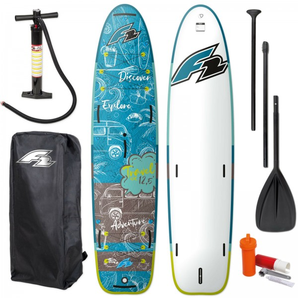"F2 TRAVEL WINDSURF SUP 12,5"" 2021 STAND UP PADDLE BOARD + PADDEL + BAG + PUMPE"